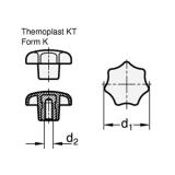1St. Knebel-, Sterngriffmutter M16