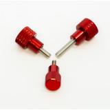 3 Rändelschrauben mit schmalem rotem Kopf in hoher Bauform, M4x10 mm